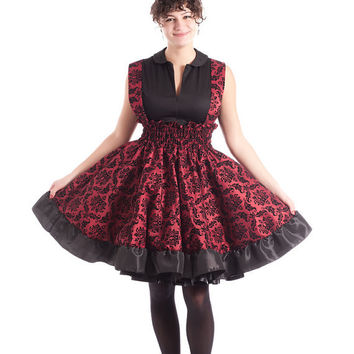 Plus size Steampunk Lolita Dress Jumper Red and Black Damask- Custom to your size