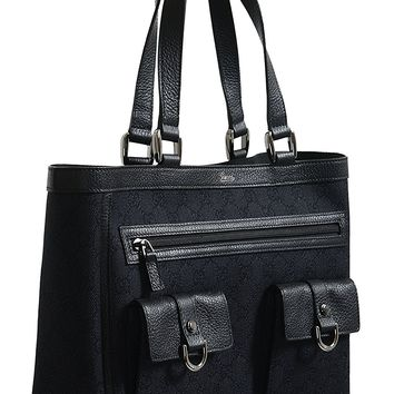 Gucci Women's Black GG Print Canvas Leather Trimmed Abbey Pocket Tote Bag