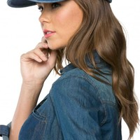 Solid Denim Snapback Baseball Cap