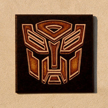 Transformers Autobot symbol woodburned home decoration