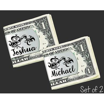 Set of 2 Personalized Tribal Money Clips | Groomsmen Gifts
