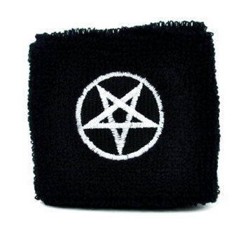 White Pentagram Wristband Death Metal Occult Heavy Sweatband Metal