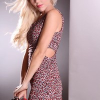 Rust Leopard One Shoulder Strap Side Cutouts Pleated Detail Sexy Dress