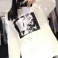 PUMA X FENTY Women Men Fashion Print Hoodie Thick Top Pullover Sweater Sweatshirt White I-MG-FSSH