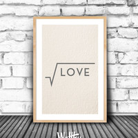 LOVE INSPIRATIONAL POSTER, Smart Minimalist Printable, Love Wall Art, Grey & Cream Love Quote Printable Poster, Handmade Paper Texture