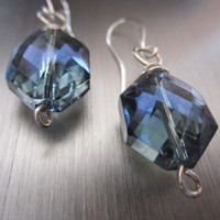 Lustrous - Blue Glass/Wrapped Wire Earrings