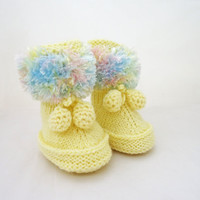 Handknitted Cute Baby Booties, Yellow, Blue and Pink Booties, Fluffy Booties, UK Seller
