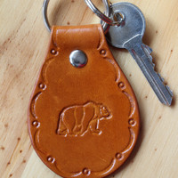 Brown Bear Keychain, Hand Tooled Leather Key Chain, Handcrafted Leather Key Fob, Brown Bear Key Fob, Handmade Keychain, Brown Bear Keyring