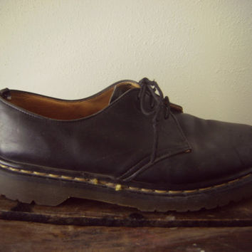 90s Dr Martens Black Oxford Boots Grunge Black Leather Boots Mens Size 9 Doc Marten Shoes Made In England Hipster Boots Goth Low Cut Boots
