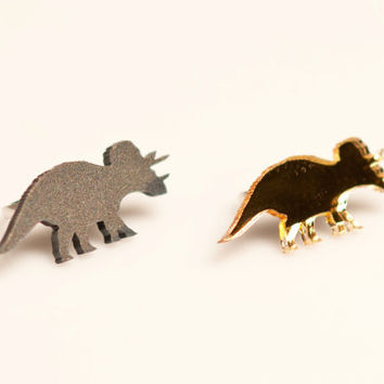 Triceratops adjustable Ring, Laser Cut Perspex Dinosaur. Acrylic and Cherry Wood.