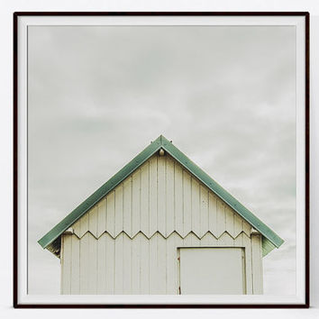 Nautical Fine Art Photography. France Beach Hut. Minimalist Art. Neutral Colours. Normandy Hut Print. Travel Photography. Normandy Seaside.