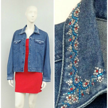 Vintage 90s Christine Alexander Oversized Denim Jacket, Rhinestone Studded Jacket, Bling Jacket Cropped Jacket, Blue Jean Jacket