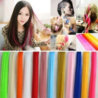 New Women Multi Color Long Straight Synthetic Clip in on Hair Extensions Piece