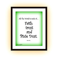 Peter Pan Quotes, Printable Wall Art, Kids home decor, Children room decal, Nursery Quote decals, Walt Disney Movie print, poster decoration