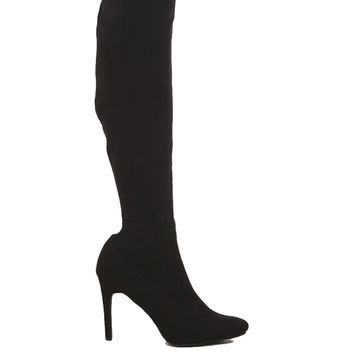 Pointy Toe Knee High Suede Boots - Black