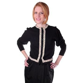 Vintage Cashmere Sweater Black  w/Embroidered Ribbon Trim 1950S