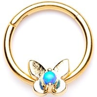 "16 Gauge 3/8"" Blue Synthetic Opal Bashful Butterfly Hinged Segment Ring"