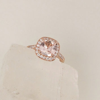 Cushion Peach Champagne Sapphire 1.77cts Gemstone Engagement Ring 14k Rose Gold Diamond Halo Vintage Style Weddings Anniversary