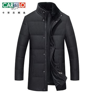 Cartelo/Brand Winter W Down Jacket Men Rex Rabbit Fur Collar Casual Clothing Long Male 90% White Duck Down Coat For Male