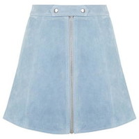 Tab Button Suede Skirt - Pale Blue