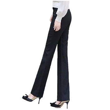 2017 Fashion New Winter Women Work Business Office Pants Straight Flares Slim OL Formal Trousers For Female Plus Size Black Navy