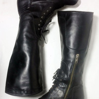 FRYE 77121 Melissa Riding Black Leather Motorcycle Tall Women's Boots Size 6