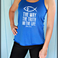 Womens Flowy Workout Tank Top. The Way The Truth The Life. John 14 6. Jesus Fish. Motivational Tank. Christian Clothing. Running Tank.