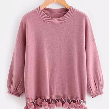 Pom Pom Trim Pink Sweater