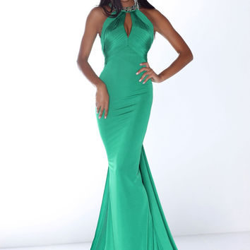 Green Chiffon Mermaid Prom Dresses Halter Backless Court Train Custom Made Elegant Nitree Party Formal Gowns vestidos de fiesta