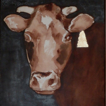 Animal art, COW portrait, Original painting with gold leaf, mixed technique, Home decor, Wall decor,