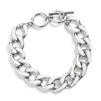 Silver-Tone Chain Link Bracelet With White Enamel Finish at Guess