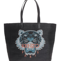 KENZO Contrast Tiger Black Tote bag with large logo - Bags & Purses