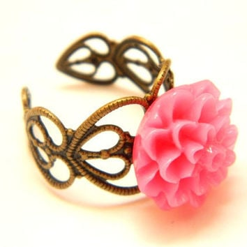 Dahlia Ring Fuchsia Antique filigree by PushTheButtons on Etsy