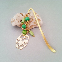 Green and gold owl metal bookmark with wooden  beads great gift idea