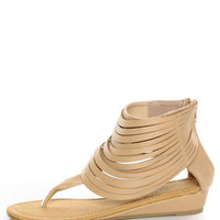 C Label Solara 9 Beige Strappy Ankle Cuff Thong Sandals - $26.00