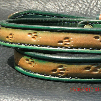 Hand tooled leather belt by AcrossLeather on Etsy
