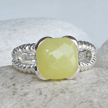Statement Ring- Gifts for Her- Gemstone Ring- Ring- Bridesmaid Ring- Yellow Green Ring