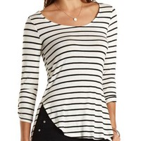 Three-Quarter Sleeve Striped High-Low Top