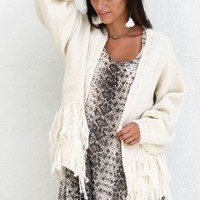 One Kiss Oatmeal Fringe Open Front Cardigan - Amazing Lace