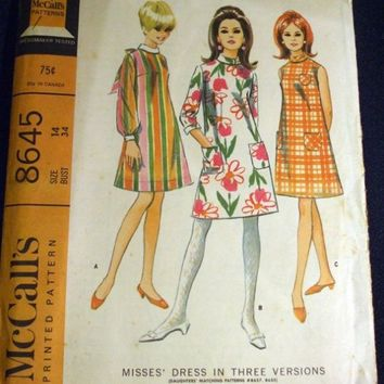 Vintage 1960s McCalls Sewing Pattern 8645 COMPLETE
