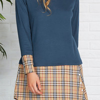 Cupshe Relax With Me Plaid Splicing Dress