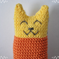 Knitted toy cat handmade baby soft toy cat knitted  baby toys nursery decoration baby shower gift ideas
