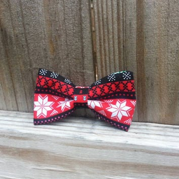 Holiday Bow Tie for Pets, christmas Dog Bowtie, Bowtie Collar Slider, snow Bow Tie, christmas Pets Bow Tie, pet props,  Neckwear, red black