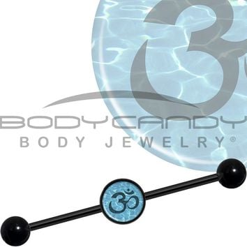14 Gauge Black Anodized Ohm on My Way Water Industrial Barbell 37mm