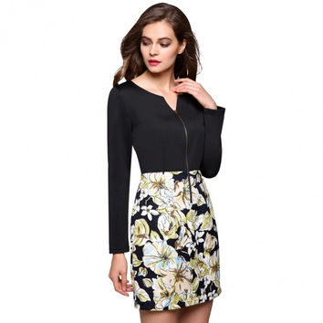 Stylish Women Fashion Floral Fabric Patchwork Spring Autumn Winter Dress