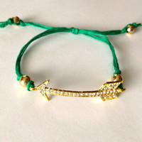 Arrow Charm Gold and Emerald Green Friendship Bracelet Arm Candy Bling Rhinestone Stack Stackable Fun Girly Adjustable