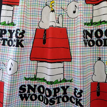 Snoopy and Woodstock Peanuts Characters Curtain Panel Crafters Fabric United Features Syn Charles M. Schulz Sunday American Comic Strip
