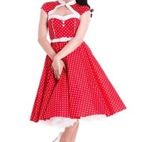 Hell Bunny – Secure Embrace Melanie 50′s Cut-Out Dress In Red/White|Thirteen Vintage