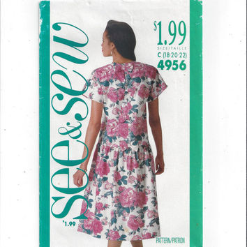 Butterick 4956 See & Sew  Vintage Sewing Pattern for Misses' Dress, Size 18, 20, 22, FACTORY FOLDED, UNCUT, Vintage Pattern, Home Sewing