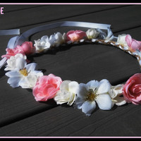 Romantic, Floral, Boho, Head, Piece, Ivory, Flower, Crown, Blush, Headband, Wedding, Headpiece, Bohemian, Pink/White, Flowers, bridal, girl